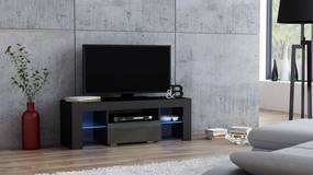 Mazzoni Masă RTV MILANO 110 + LED neagră, cu sertar gri