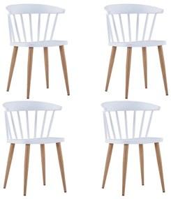 276245 vidaXL Scaune de bucătărie, 4 buc., alb, plastic