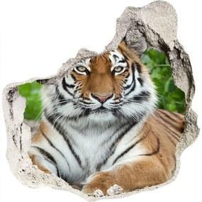 Fototapet un zid spart cu priveliște Tigru siberian