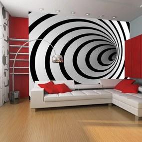 Fototapet Bimago - Black and white 3D tunnel + Adeziv gratuit 450x270  cm