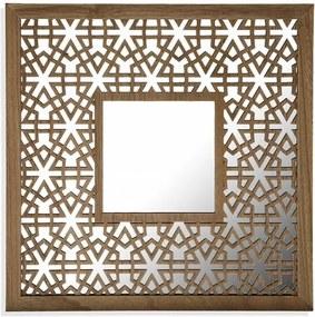 Decoratiune cu oglinda maro din MDF si metal pentru perete 41x41 cm Square Wall Mirror Versa Home