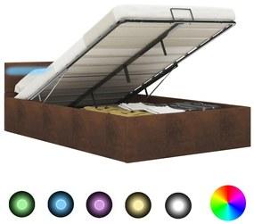 285567 vidaXL Cadru pat hidraulic cu ladă și LED, maro, 140 x 200 cm, textil
