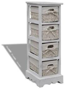240797 vidaXL Dulap de depozitare din lemn, 4 coșuri împletite, alb