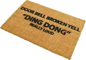 Covoraș intrare din fibre de cocos Artsy Doormats Yell Ding Dong, 40 x 60 cm