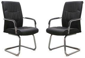 Set 2 scaune de vizitator Stanley CF, piele ecologica, negru