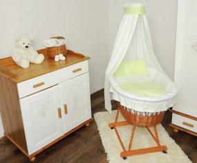 de răchită coș pe copil cu verde set lenjerie Coș de răchită pentru bebeluși cu set de lenjerie verde