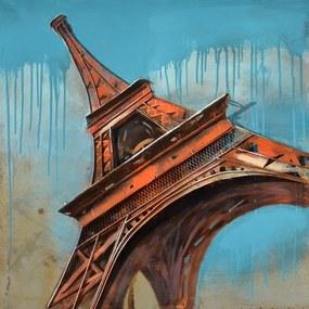 Falc Tablou pe metal striat - Orange Eiffel Tower, 80x80 cm