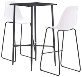 279919 vidaXL Set mobilier de bar, 3 piese, alb, plastic