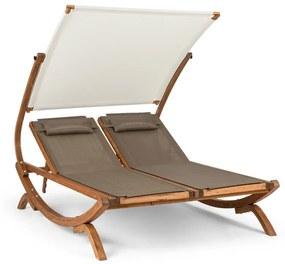 Sonnendeck, șezlong dublu, parasolat reglabil împotriva soarelui, perne, alb