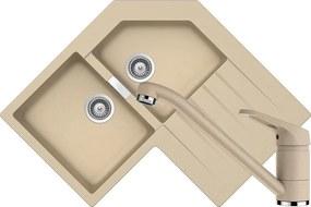 Set Chiuveta Schock Primus C-200 840 x 840 mm si Baterie Schock Cosmo Moonstone Cristalite
