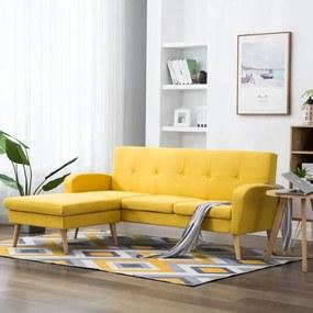 246998 vidaXL Canapea în formă de L, galben, 186x136x79 cm, tapițerie textilă