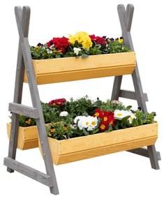 Suport pentru flori din lemn natural / gri BERON