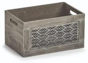 Cutie pentru depozitare din lemn, Leaves Small Gri, L30xl20xH16 cm