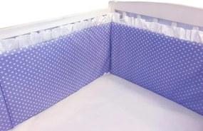 Aparatori laterale cu volanase si buline 140x70 h60 cm albastru