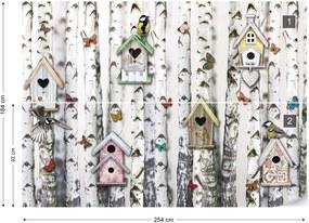 Fototapet GLIX - Birch Trees And Birdhouses Vintage Chic + adeziv GRATUIT Tapet nețesute - 254x184 cm