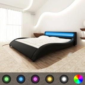 Pat piele artificială, bandă LED, saltea inclusă 140 x 200 cm, negru