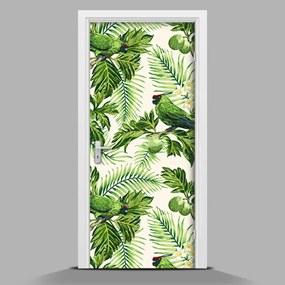 Autocolant pentru uși Flori tropicale