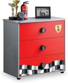 Comoda din pal cu 3 sertare, pentru copii Race Cup Rosu, l76xA42xH74 cm