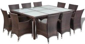 41821 vidaXL Set mobilier de exterior cu perne, 11 piese, maro, poliratan