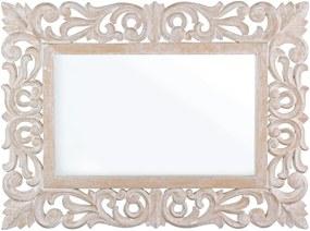 Oglinda decorativa perete cu rama lemn alb patinat Dalila 45 cm x 60 cm