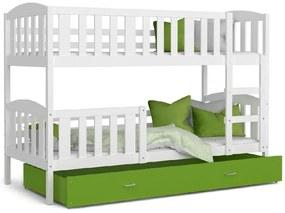 Expedo Pat supraetajat copii KUBA 2 COLOR + saltea + somieră GRATIS, alb/verde, 190x80