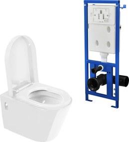 [neu.haus]® WC ceramica modern de perete - vas WC (alb) cu rezervor apa