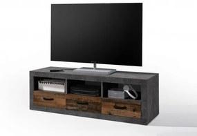Comoda TV din pal, cu 3 sertare Inez Gri / Natur, l147xA45xH49 cm