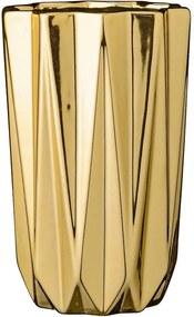 Vaza Incretita din Portelan - Portelan Auriu Diametru(12.5 cm) x Inaltime(20 cm)