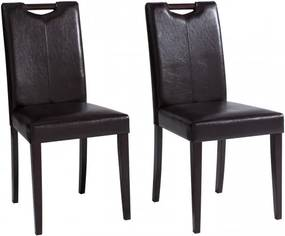 Set de 2 scaune de living Siena piele sintetica/lemn, maro inchis, 43 x 57 x 92 cm