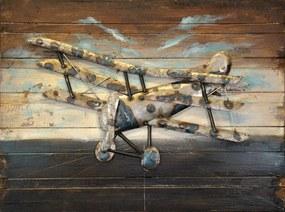 Tablou pe metal striat - Military aircraft, 75x100 cm