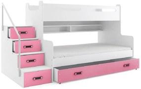 Expedo Pat supraetajat XAVER 3 COLOR + SD + saltea + somieră GRATIS, 120x200, alb, roz