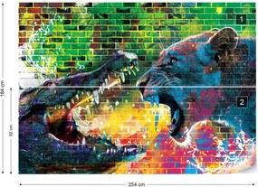 Fototapet GLIX - The Battle Lion Alligator 2 + adeziv GRATUIT Papírová tapeta  - 254x184 cm