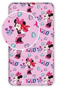 Cearșaf bumbac Minnie baby pink, pentru copii, 90 x 200 cm