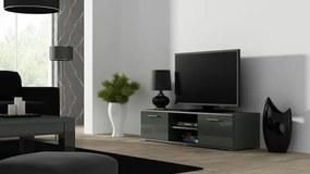 Comoda TV cu 2 usi si 2 spatii depozitare Soho RTV 140, gri lucios, structura din pal si fronturi din MDF lucios, 140x43x37 cm lxAxh