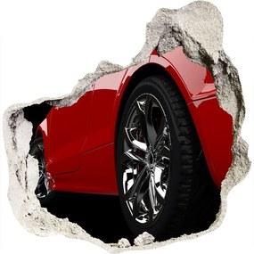 Autocolant de perete gaură 3D Mașină roșie