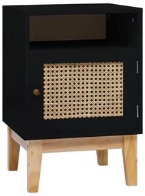 287494 vidaXL Noptieră, negru, 40x40x61 cm, MDF și ratan