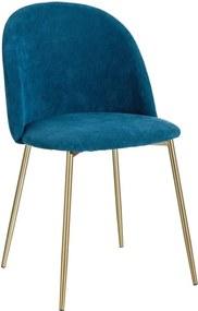 Scaun Albastru din Material Textil si Metal 50cm IXIA - Textil Albastru Lungime (50cm) x Latime (53cm) x Inaltime (82cm)