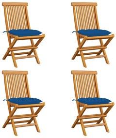 3062593 vidaXL Scaune de grădină cu perne albastre, 4 buc., lemn masiv de tec