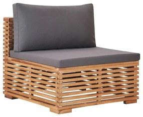 49377 vidaXL Canapea de grădină de mijloc cu perne gri, lemn masiv de tec