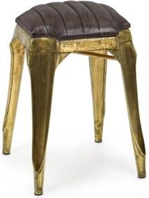 Taburet cu picioare din fier auriu antichizat si sezut din piele naturala maro Mendez 35 cm x 35 cm x 50 h