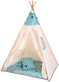 Cort copii stil indian Teepee Tent Kidizi Animals Mint, include covoras gros si 2 perne
