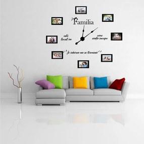 Sticker decorativ ceas Familia mea (8 rame foto)