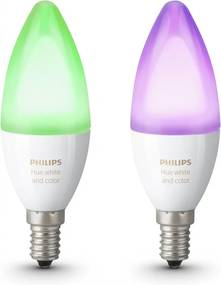 SET 2x LED RGB Bec dimmabil Philips HUE WHITE AND COLOR E14/6W/230V 2200-6500K