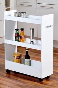 Regał kuchenny, mobilny w kolorze białym na kółkach, 3 poziomy, KESPER
