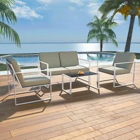 42863 vidaXL Set mobilier de grădină cu perne, 4 piese, alb, oțel