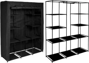 Dulap din material textil Mira Maxi, pentru depozitare incaltaminte, imbracaminte sau accesorii, cadru metalic, 10 rafturi, Negru