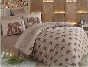 Lenjerie de pat cu cearșaf din bumbac și 2 fețe de pernă pentru pat dublu Fil, 200 x 220 cm