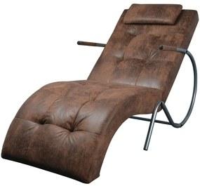 244093 vidaXL Șezlong cu pernă, maro, material cu aspect de velur