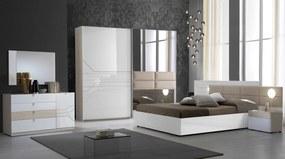 Dormitor Svetlana , alb/cappuccino, pat 160x200 cm, dulap cu 2 usi culisante, 2 noptiere, comoda