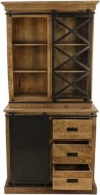 Bufet negru/maro din lemn de mango si fier 190 cm Melbourne HSM Collection